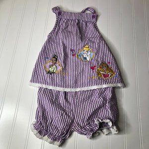 Disney Purple White Stripe Romper Princess 18M